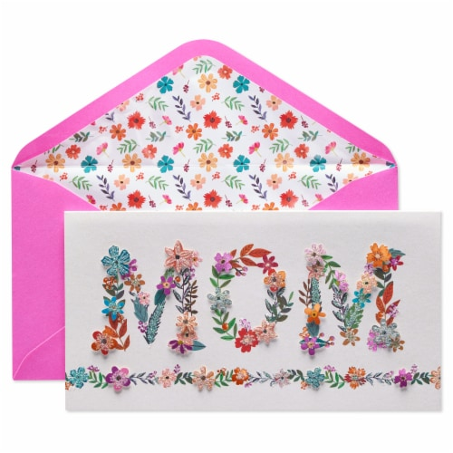 Papyrus Mother's Day Card (Floral Mom Lettering) Perspective: front