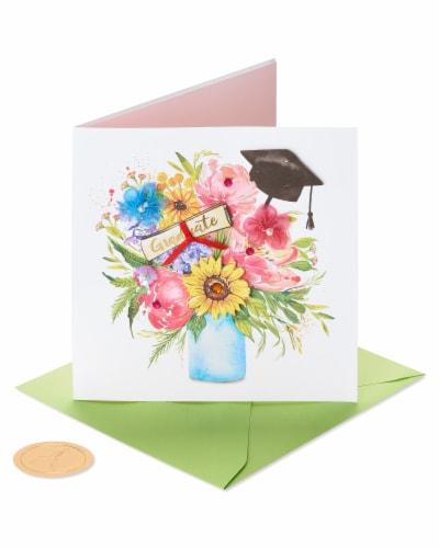 Papyrus Graduation Card (Floral Cap) Perspective: front