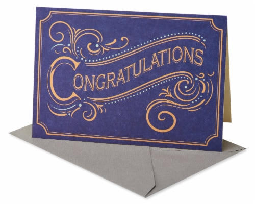 American Greetings #60 Congratulations Card (Gold Script) Perspective: front