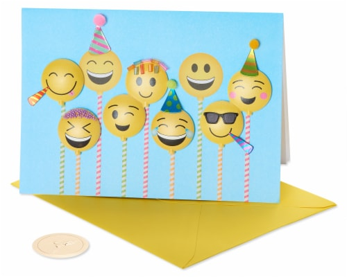 Papyrus #45 Birthday Card (Emojis) Perspective: front