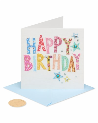 Papyrus #42 Birthday Card (Stitching Text) Perspective: front