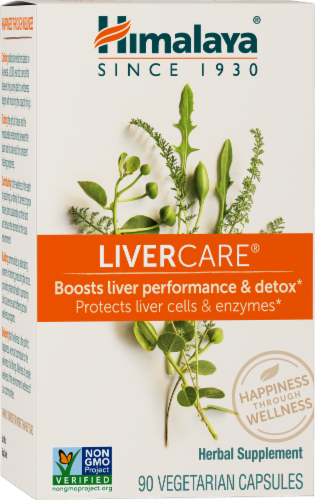 Himalaya Herbal Healthcare LiverCare Herbal Supplement Vegetarian Capsules Perspective: front