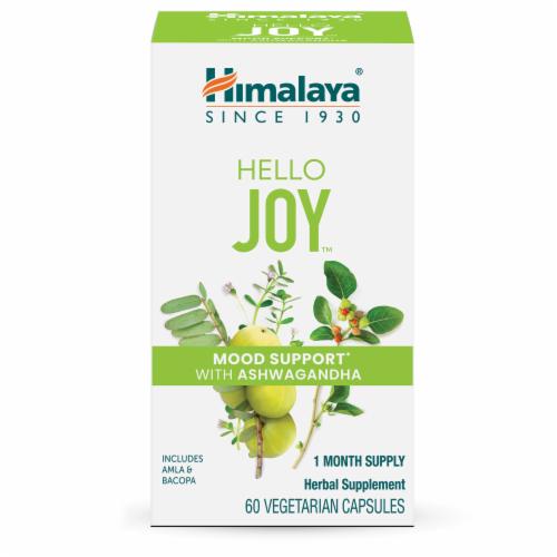 Himalaya Hello Joy Herbal Mood Support With Ashwagandha Vegetarian Capsules Perspective: front