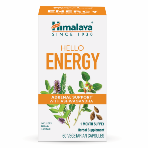 Himalaya Hello Energy Adrenal Support With Ashwagandha Vegetarian Capsules Perspective: front