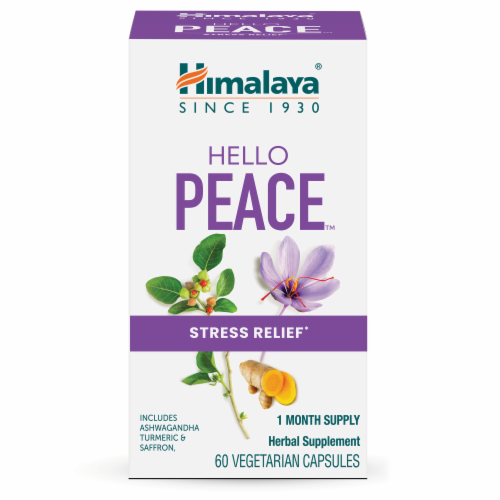 Himalaya Hello Peace Stress Relief Vegetarian Capsules Perspective: front