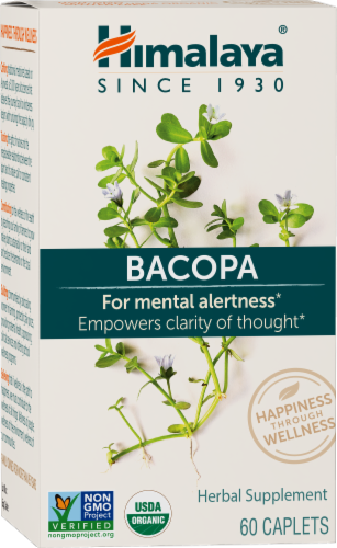 Himalaya Herbal Healthcare Bacopa Herbal Supplement Caplets Perspective: front