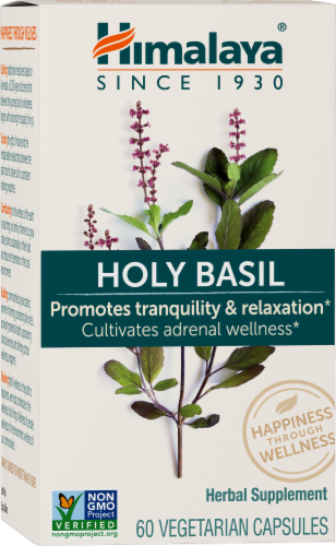 Himalaya Herbal Healthcare Holy Basil Herbal Supplement Vegetarian Capsules Perspective: front