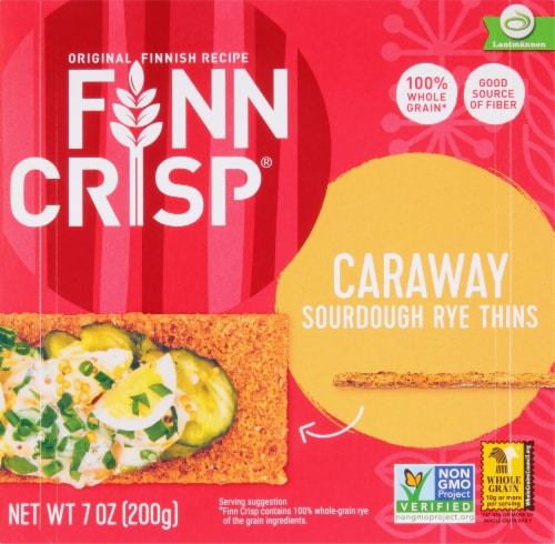 Finn Crisp Caraway Sourdough Rye Thin Crackers Perspective: front