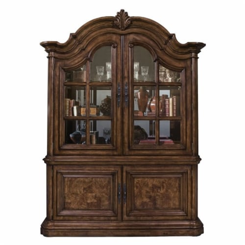 Home Fare San Mateo China Cabinet in Mahogany Brown Wood Perspective: front