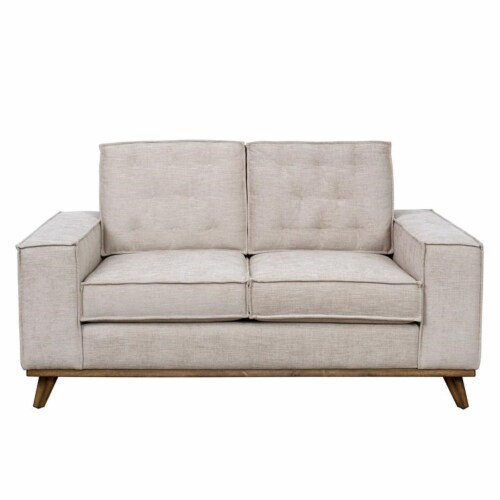 Welt Trim Upholstered Wood Farmhouse Loveseat Perspective: front
