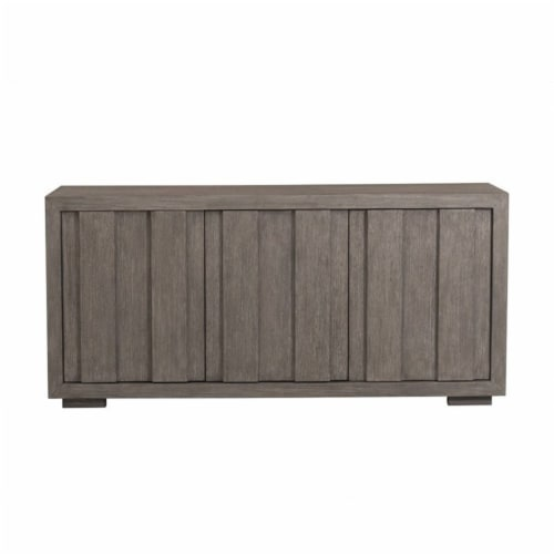 Home Fare Rustic Plank Front 3 Door Storage Console in Weathered Brown Perspective: front