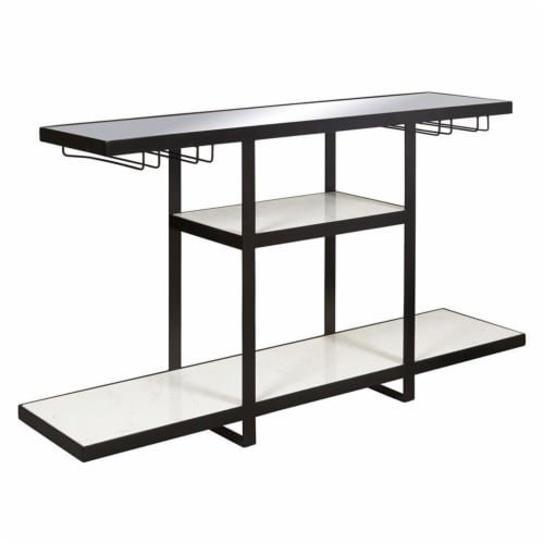 Industrial Metal and Marble Bar with Mirrored Top Perspective: front