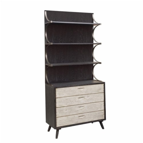 HomeFare Mid Century Wood Buffet & Hutch in Black Perspective: front