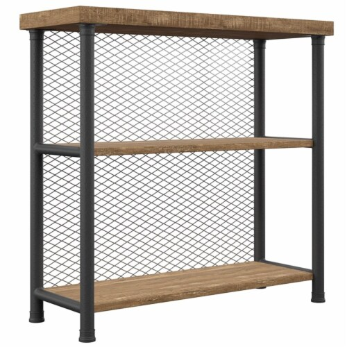 Industrial Metal Bookcase Rustic Oak Perspective: front