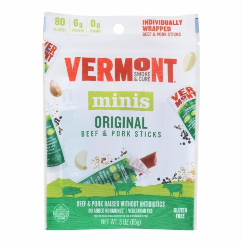 Vermont Smoke and Cure Beef & Pork Stick - Cracked Pepper - Case of 8 - 6/.5 oz Perspective: front