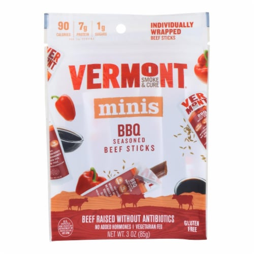 Vermont Smoke and Cure Beef Stick - BBQ - Case of 8 - 6/.5 oz Perspective: front