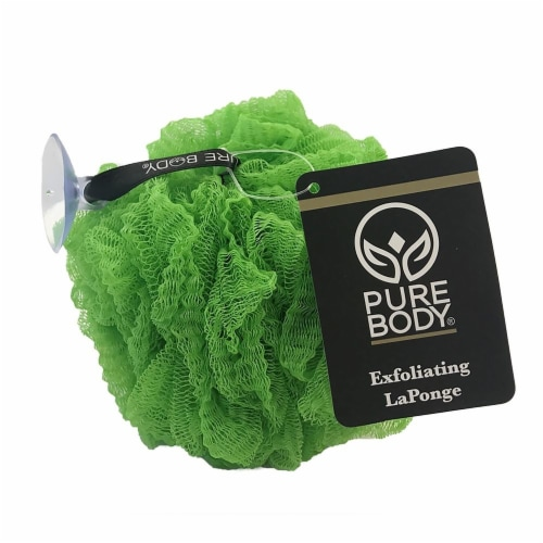 Pure Body Tropical Green Exfoliating Pouf Perspective: front