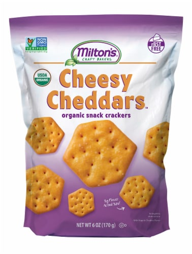 Milton's Craft Bakers Organic Cheesy Cheddar Crackers Perspective: front
