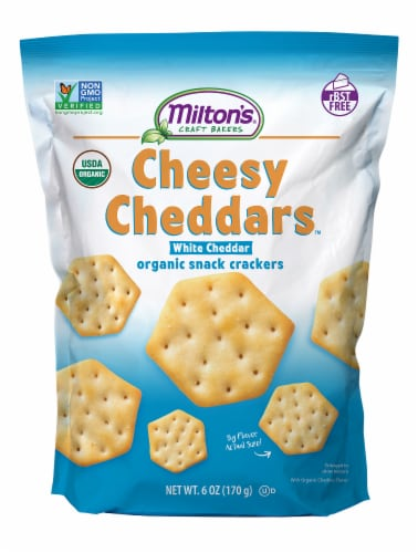 Milton's Craft Bakers Organic Cheesy White Cheddar Crackers Perspective: front