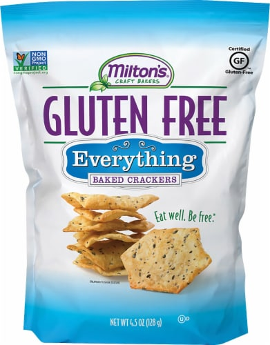 Milton's Craft Bakers Gluten Free Everything Baked Crackers Perspective: front
