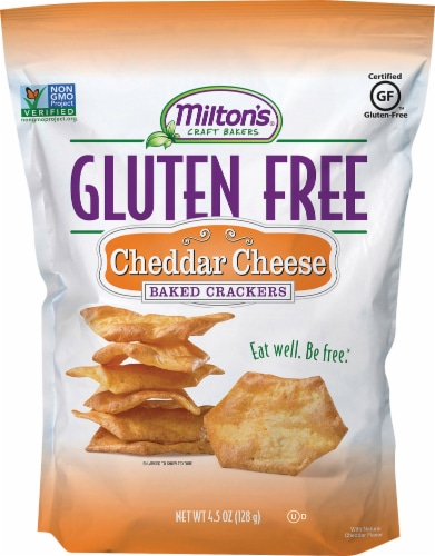 Milton's Craft Bakers Gluten Free Cheddar Cheese Baked Crackers Perspective: front
