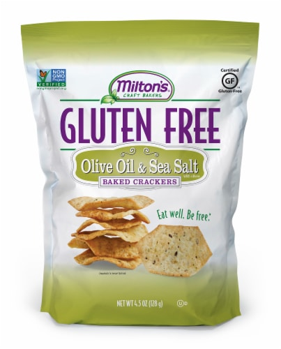 Milton's Craft Bakers Gluten Free Olive Oil & Sea Salt Baked Crackers Perspective: front