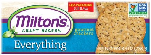 Milton's Craft Bakers Everything Gourmet Baked Crackers Perspective: front
