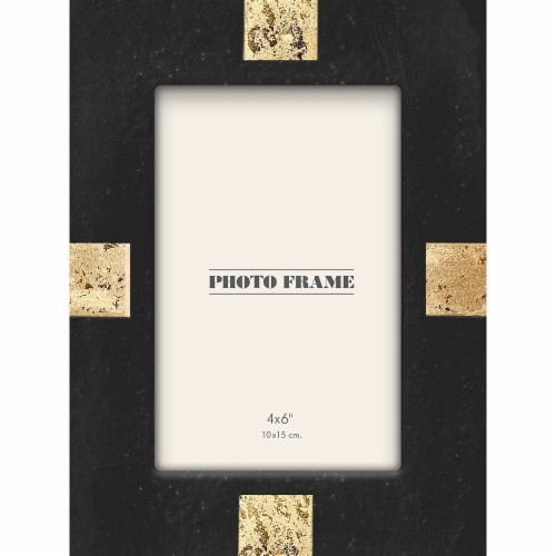 New View 4x6 inch Picture Frame - Black / Gold Perspective: front