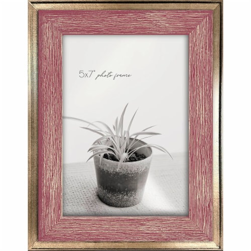 New View 5x7 inch Picture Frame - Pink & Gold Perspective: front