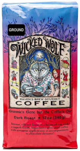 Raven's Brew Wicked Wolf Dark Roast Ground Coffee Perspective: front