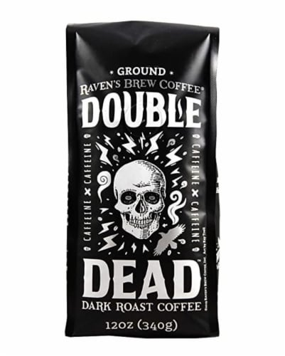 Raven's Brew Double Dead Dark Roast Ground Coffee Perspective: front