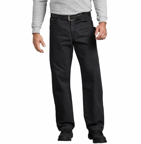 Dickies Men's Relaxed Fit Sanded Duck Carpenter Jeans - Rinsed Black Perspective: front