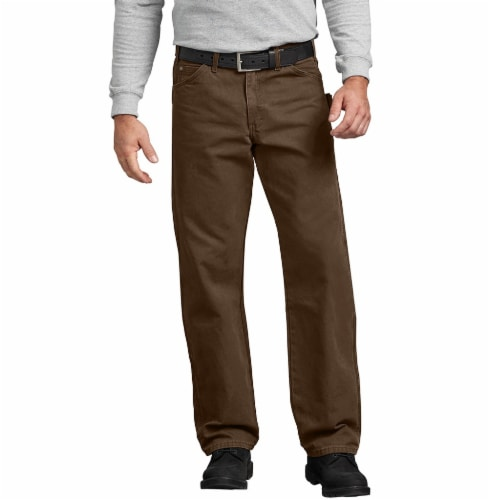 Dickies Men's Big & Tall Relaxed Fit Sanded Duck Carpenter Jeans - Rinsed Timber Perspective: front