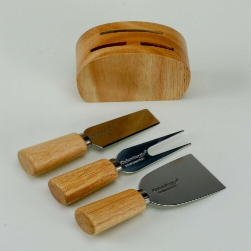 KitchenWorthy 290-4PCS 4 Piece Cheese Knife & Block Set Perspective: front