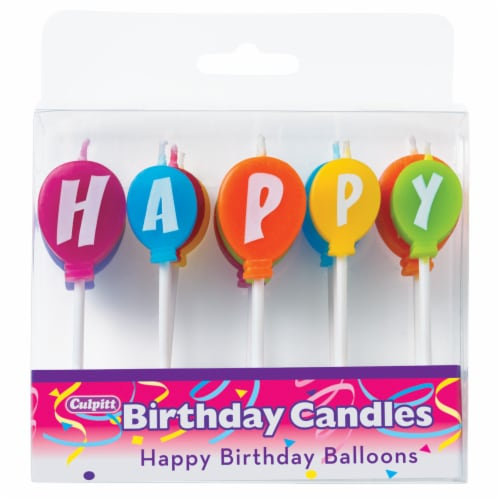 DecoPac Happy Birthday Balloon Cake Candles Perspective: front