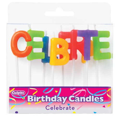 Culpitt Celebrate Letters Cake Candles Perspective: front