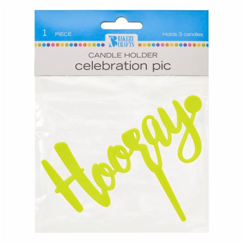 DecoPac Bakery Crafts Celebration Pic Hooray Candle Holder - Yellow Perspective: front