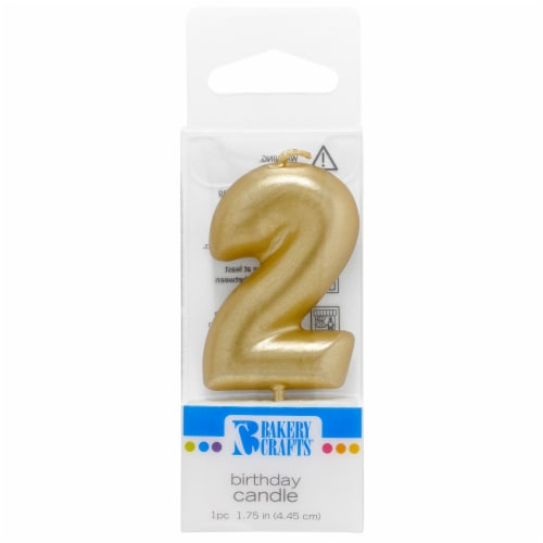 Bakery Crafts Gold Numeral Two Birthday Candle Perspective: front
