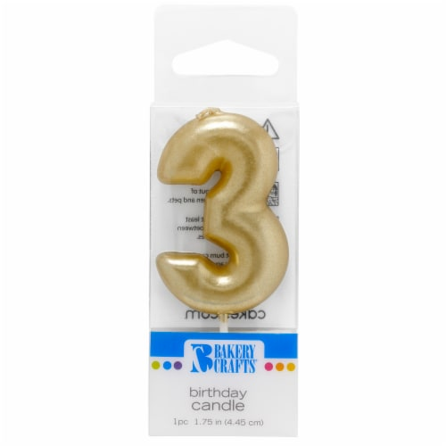 Bakery Crafts Gold Numeral Three Birthday Candle Perspective: front