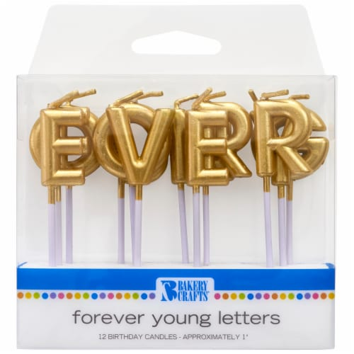 Bakery Crafts Gold Forever Young Letter Candles Perspective: front