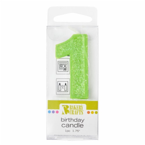 Bakery Crafts Glitter Green 1 Birthday Candle Perspective: front