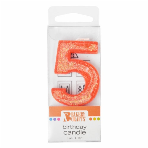 Bakery Crafts Glitter Orange 5 Birthday Candle Perspective: front