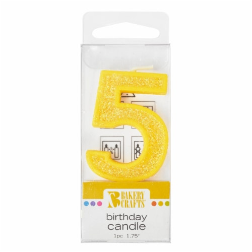 Bakery Crafts Glitter Yellow 5 Candle Perspective: front