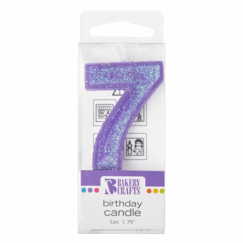 Bakery Crafts Glitter Purple 7 Birthday Candle Perspective: front