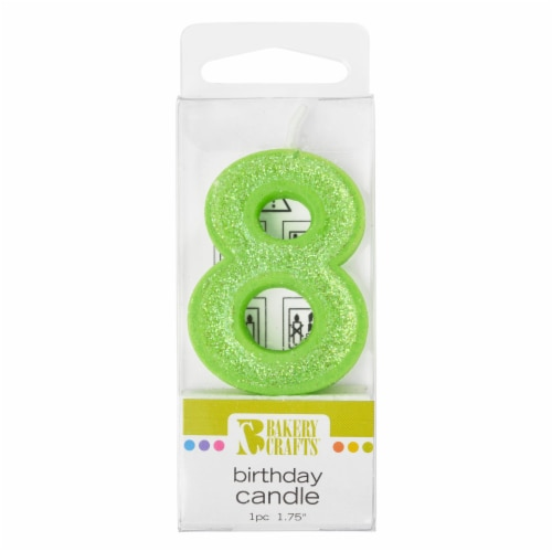 Bakery Crafts Glitter Green 8 Birthday Candle Perspective: front