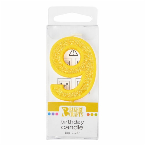 Bakery Crafts Glitter Yellow 9 Birthday Candle Perspective: front