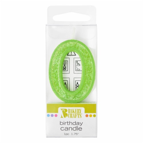 Bakery Crafts Glitter Green 0 Birthday Candle Perspective: front