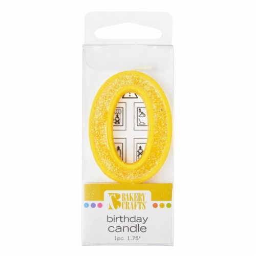 Bakery Crafts Glitter Yellow 0 Birthday Candle Perspective: front