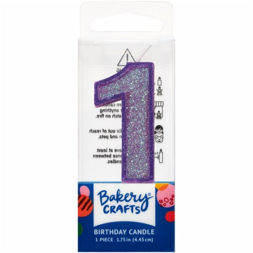 DecoPac One Birthday Candle Cake Decoration - Purple Perspective: front