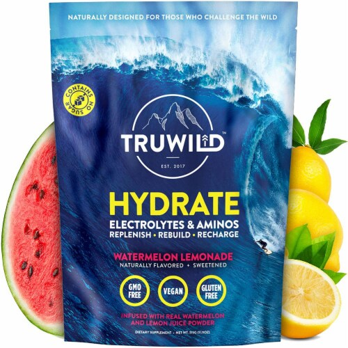 Hydrate Electrolyte + Amino Acids Drink Mix Powder - Natural Lemon & Watermelon Juice Perspective: front